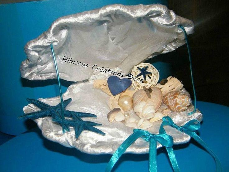 Coussin Porte alliance mariage Coquillage ton blanc beige et bleu thème mer iles voyages