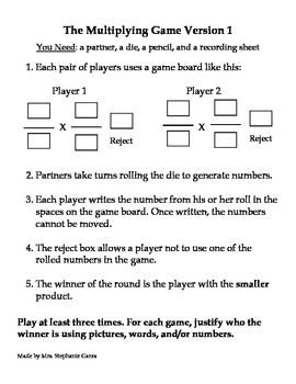 The Multiplying Game 7th grade math games