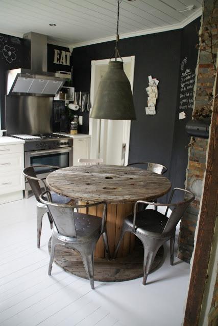 Alte Starkstrom Kabeltrommel als Küchentisch