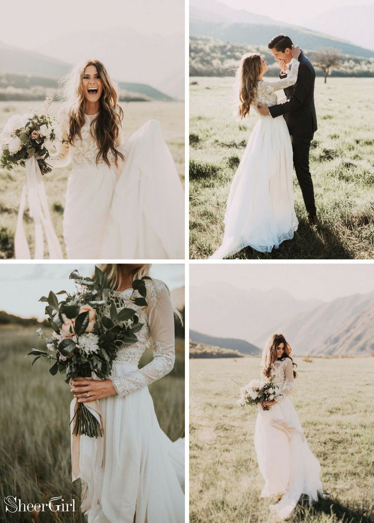 Top 10 fall wedding dresses. Long sleeve ivory wedding dresses. Lace applique ru…