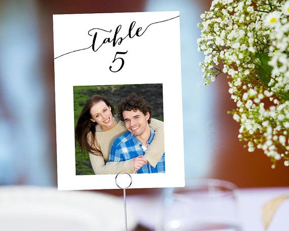 photo table number cards with photos fun wedding couples photo