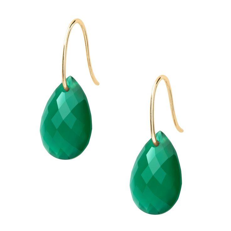 Boucles d'oreilles agate verte or jaune Morganne Bello