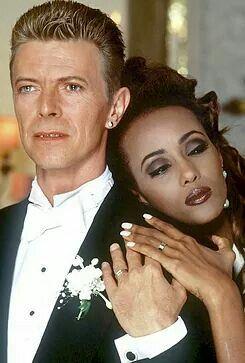 David Bowie & wife Iman on their wedding day, 1992.
