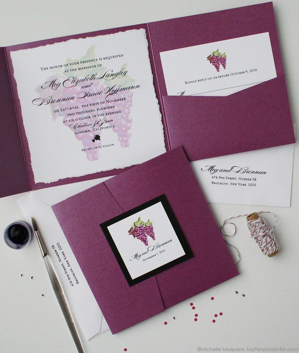 Painted Winery Grapes Folder Wedding Invitations | My Personal Artist
