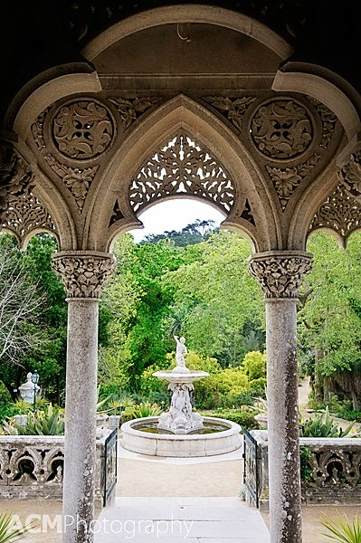 The Triton Fountain from the terrace, Monserrate palace Sintra Portugal