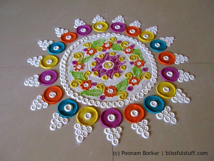 Beautiful and innovative multicolored rangoli | Creative rangoli designs by Poonam Borkar - YouTube