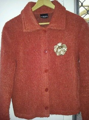 DIESEL ladies women rust orange MOHAIR jacket coat winter cardigan size M 12-14