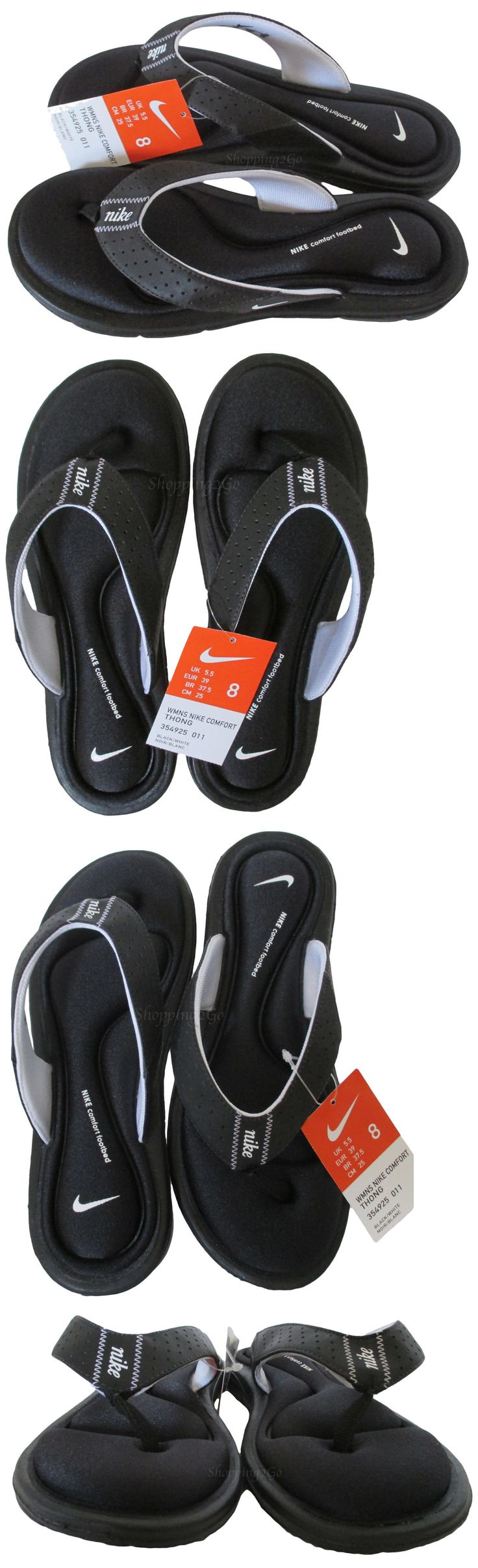 Sandals and Flip Flops 62107: New! Women S Nike Comfort Thong Sandals Black White Size 8 -> BUY IT NOW ONLY: $31.97 on eBay!