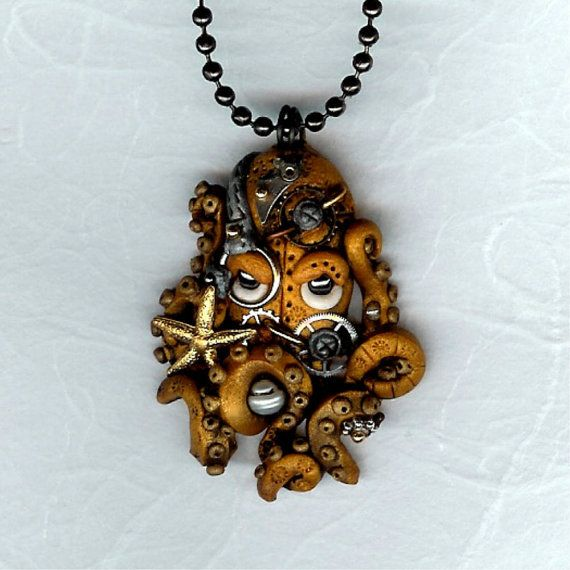 collaged octopus neckless