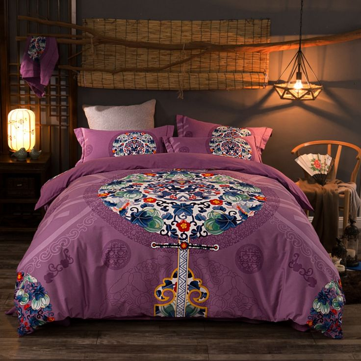 Ethnic Bedding Sets Purple Duvet Cover with Beautiful Geometric Patterns Good Present for Men/women for All Seasons
