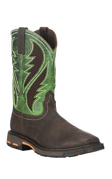 Ariat Work Men's Workhog Brown with Lime Green Details Vent Tek Square Composite Toe Work Boots | Cavender's