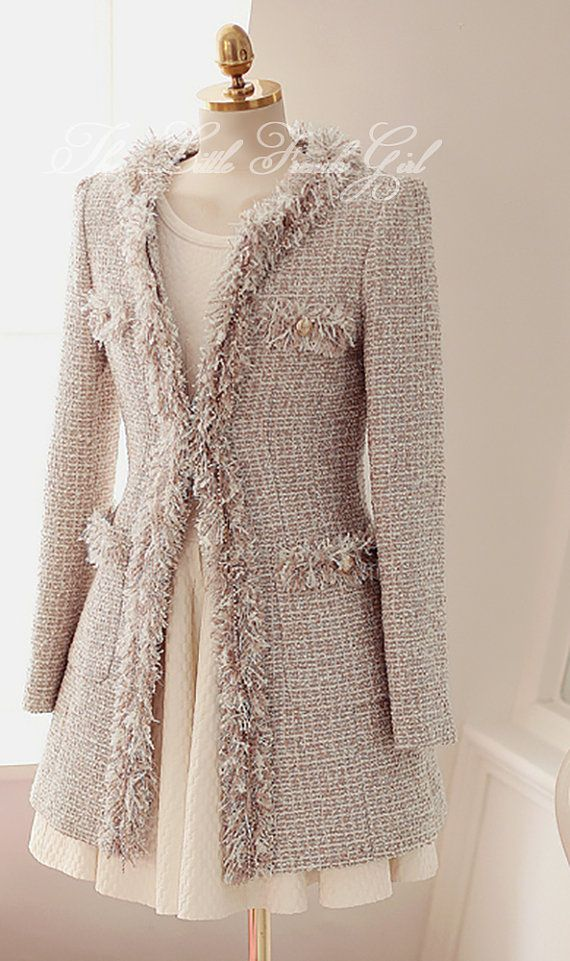 So Frenchy pink tweed coat with pockets and fringe trim by TheLittleFrenchGirl