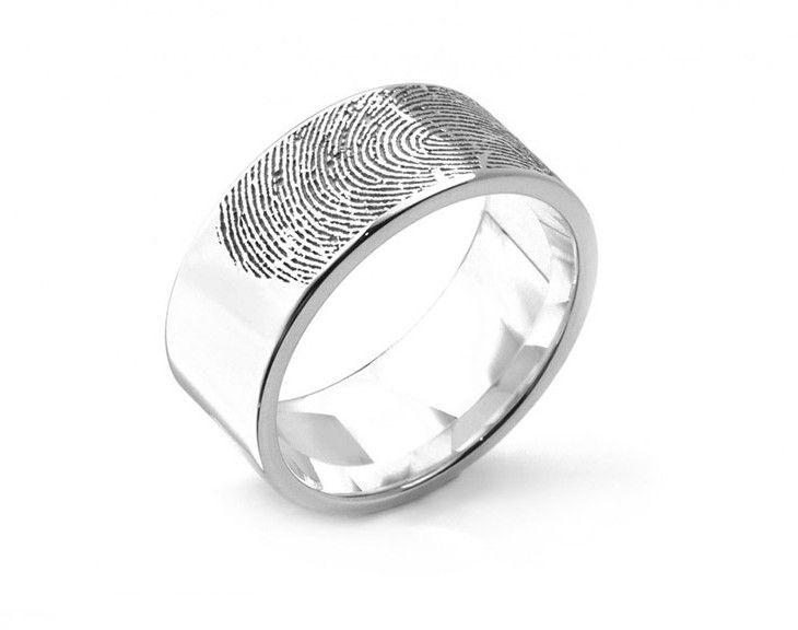 Trending Extra wide fingerprint engraved wedding ring