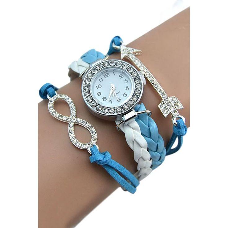 Bluelans Womens Crystal Arrow Charm Faux Leather Wrist Watch Blue-White (Intl) | Lazada.vn