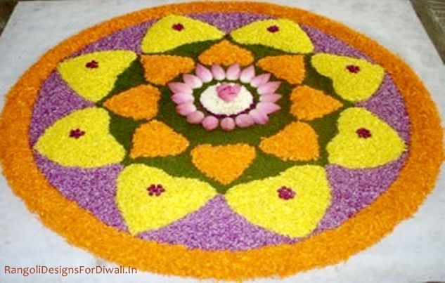 CrispyDose Most colourful rangoli designs with flowers for diwali