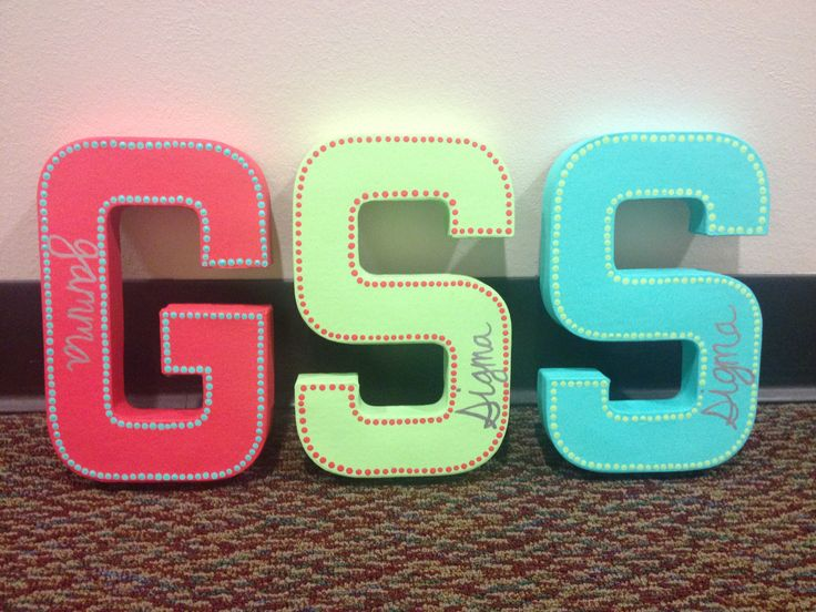 Gamma Sigma Sigma painted sorority letters