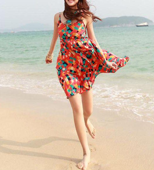 Colorful Geometric Patterns Strap Red Beach Dress @ MayKool.com