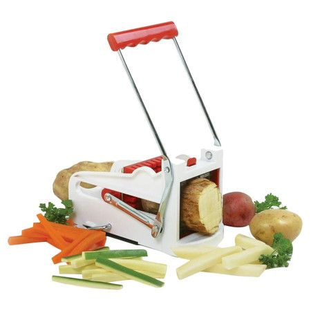 French fry cutter with 2 interchangeable blades and an 8-segment fruit wedger.   Product: French fry cutter, fruit wedger, and ...
