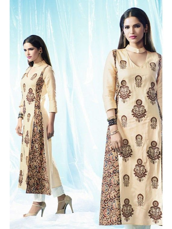 Effusive Beige Cream Embroidered Kurti