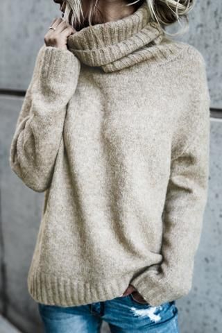 Poppoly Henry Rolled Neck Sweaters jumper loose fashion warm winter Boho style