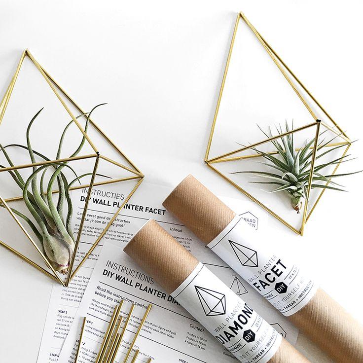 DIY Himmeli Wall Planter Facet - Airplants https://www.livingdesign.be/nl/assortiment/airplants