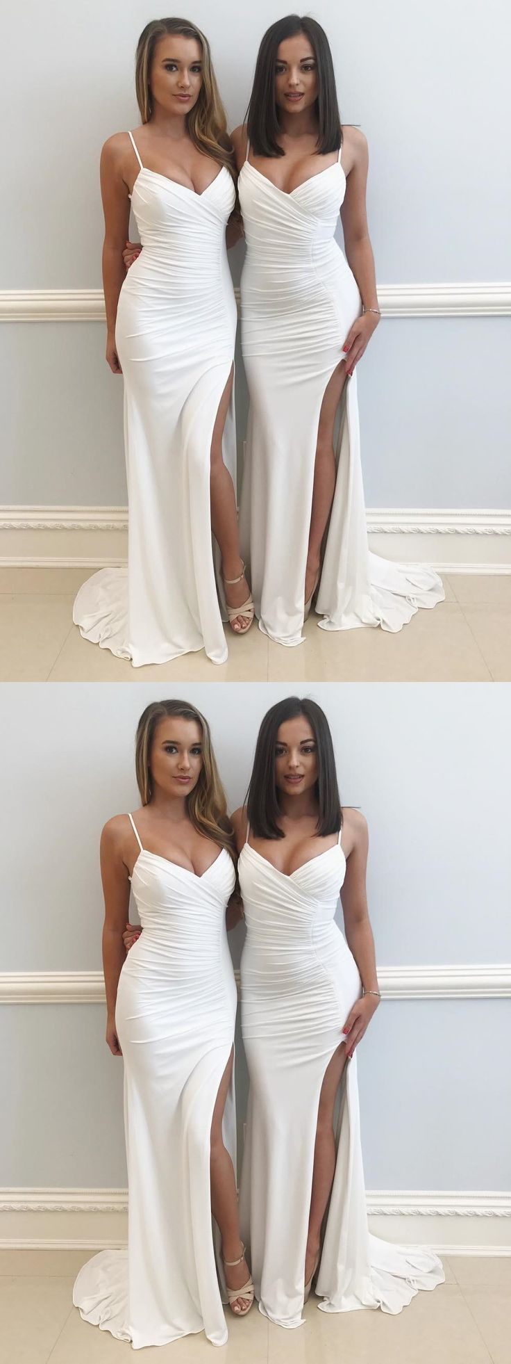 modest jersey prom party dresses split, simple sexy evening gowns, elegant wedding party dresses.