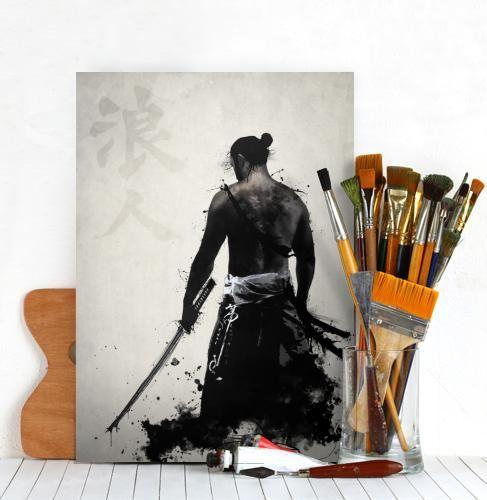 ronin samurai ninja warrior japan spatter sword katana bushido Illustration