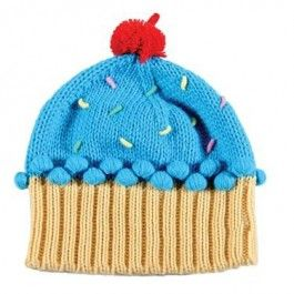 Cupcake Knitted Beanie Blue with sprinkles $25.95