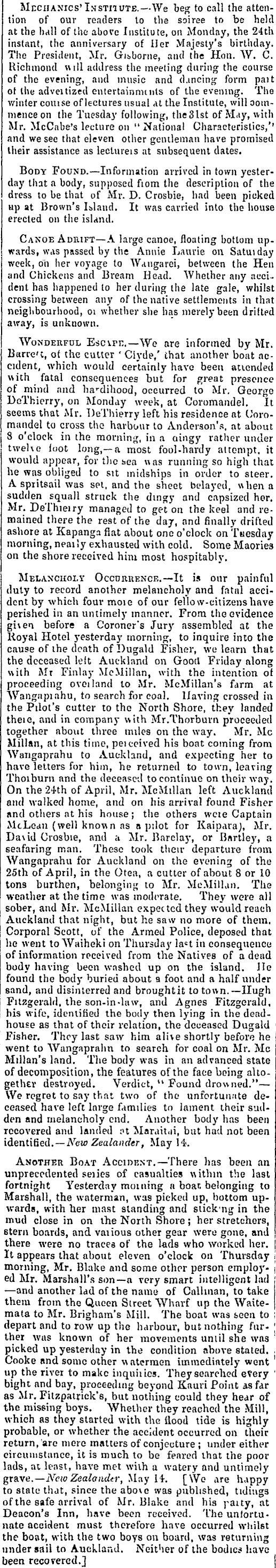 1859 Finlay McMillan Auckland Whangaprahu melancholy event