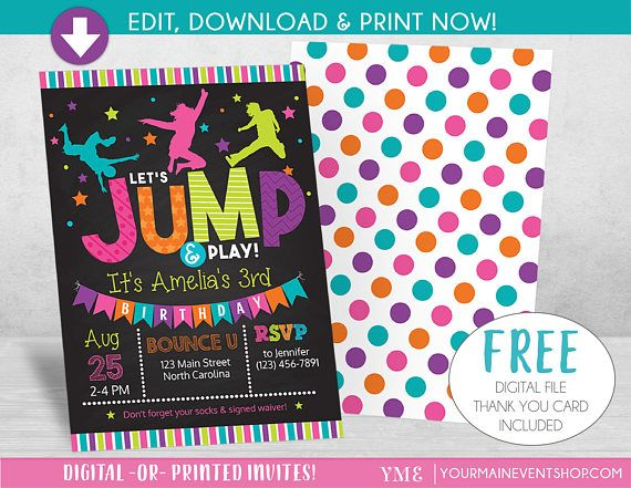 Jump Birthday Invitation Trampoline Party Invite Bounce House Birthday Invit Print Birthday Invitations Party Invite Template Birthday Party Invitations Free