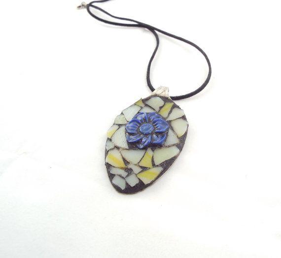 Spoon Jewelry Mosaic Blue Flower Jewelry by PiecesofhomeMosaics