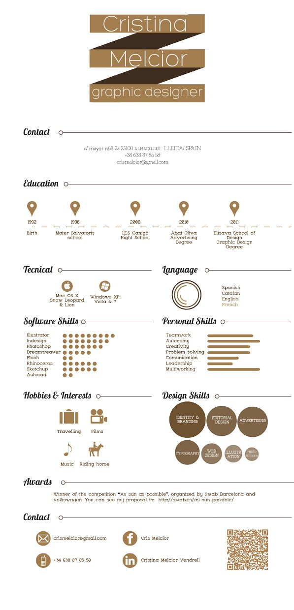 Curriculum Vitae by Cristina Melcior, via Behance
