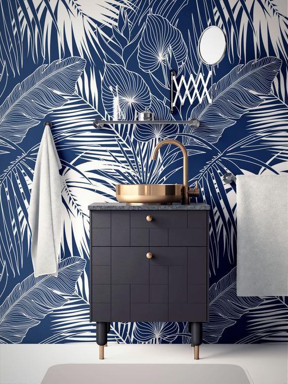 Tropical Removable Wallpaper Banana Palm Leaves Wallpaper Etsy Palm Leaf Wallpaper Leaf Wallpaper Modern Wallpaper