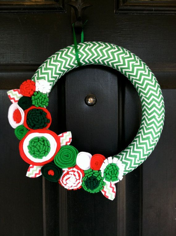 Christmas Wreath wrapped in Chevron Christmas by stringnthings