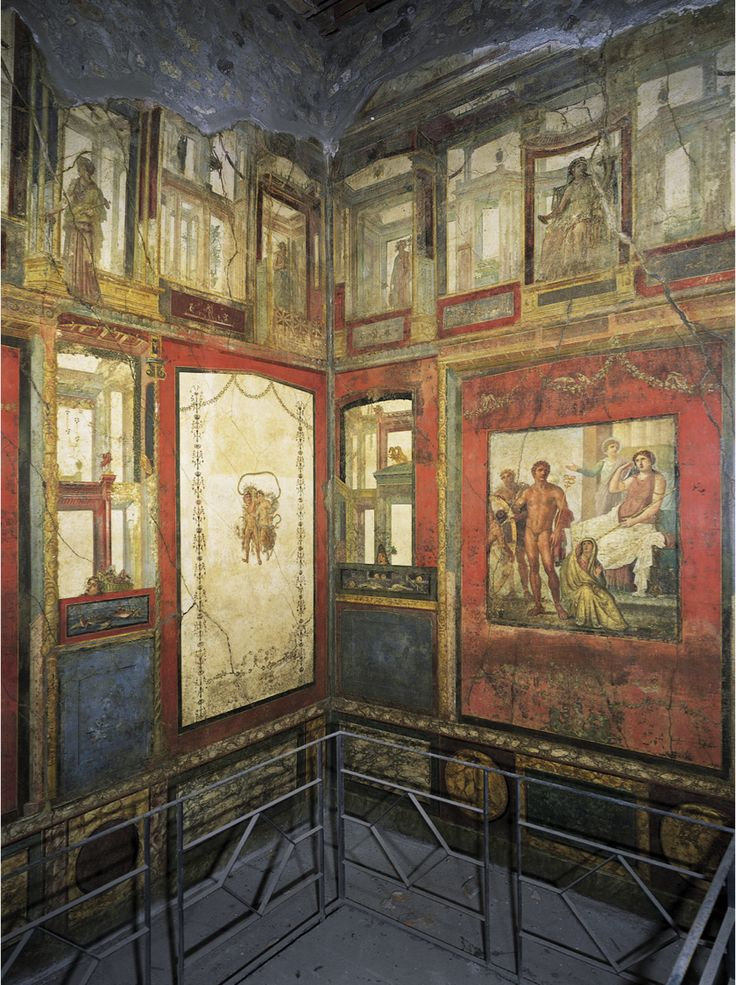 Wall paintings ixion room house of the vettii pompeii for Ancient mural villa