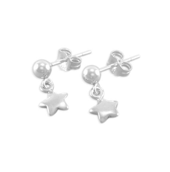 Vintage Sterling Silver Rhinestone Wish Upon a Star Screw Back Earrings