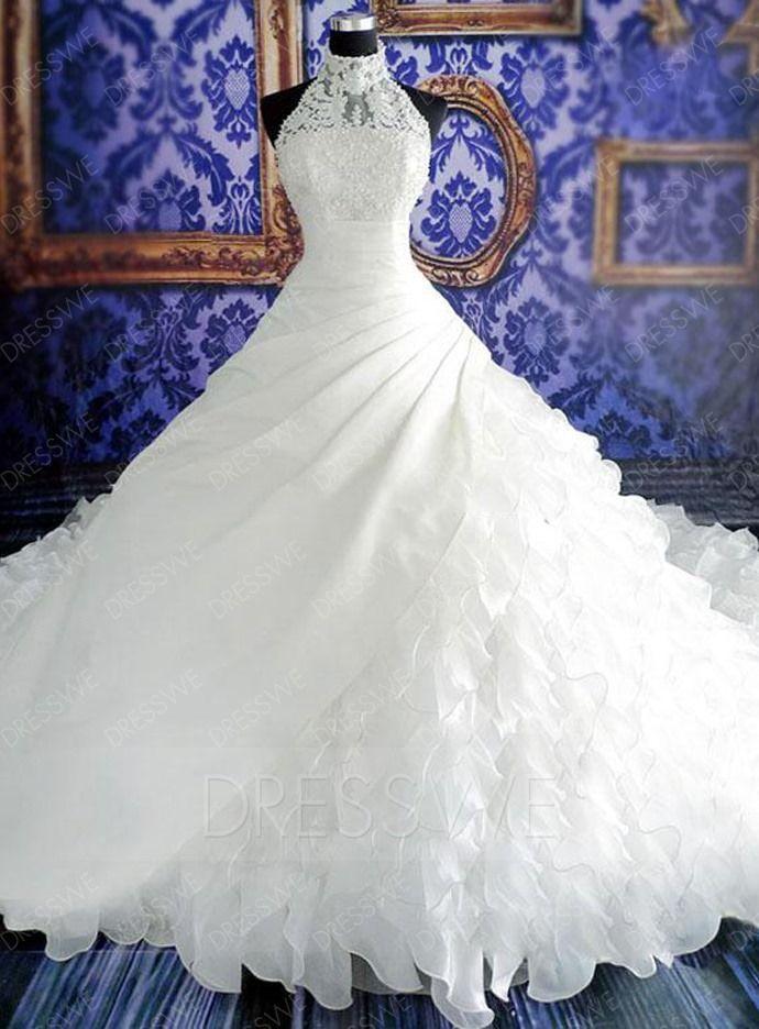 comprar vestido de boda del tren de la capilla de la perla de cuello alto con encanto Online ,precio: USD$282.39