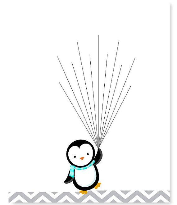 Penguin Baby Shower Guest Book Fingerprints by SweetPeaNurseryArt