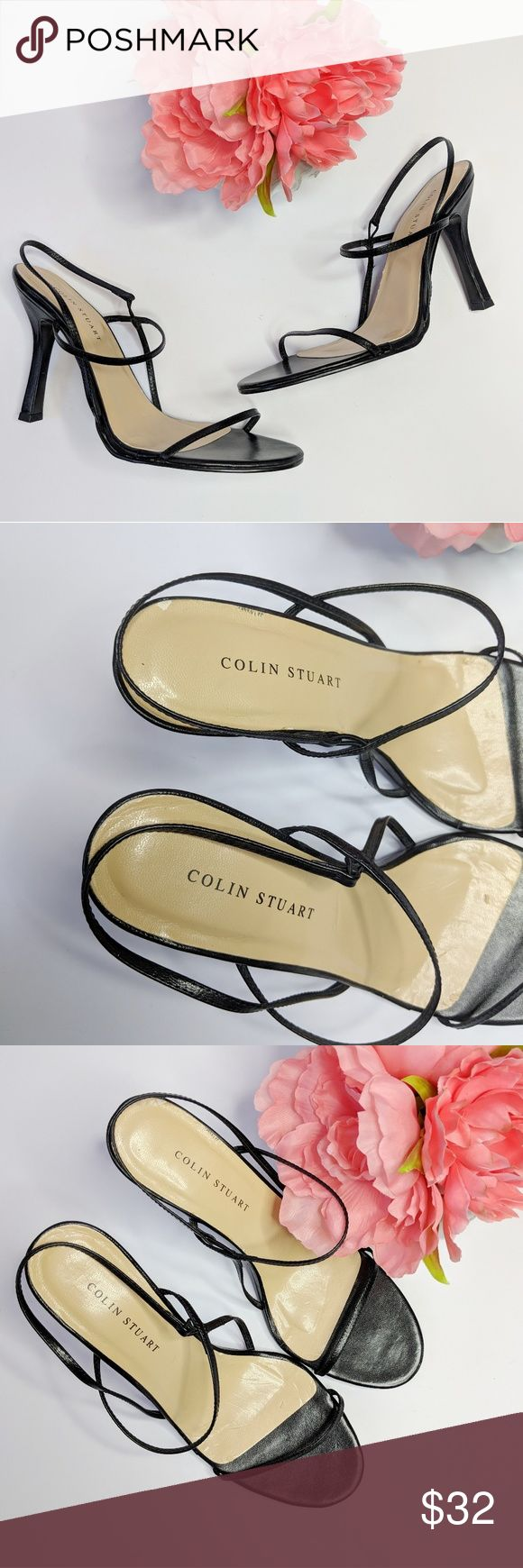 COLIN STUART • strappy black leather heels Colin Stuart heels, thin straps over toe and around Ankle. Elastic at ankle for comfort and stretch.  Black leather upper. Manmade sole. Heel height approximately 4 inches. Excellent condition with minimal wear to sole. Colin Stuart Shoes Heels