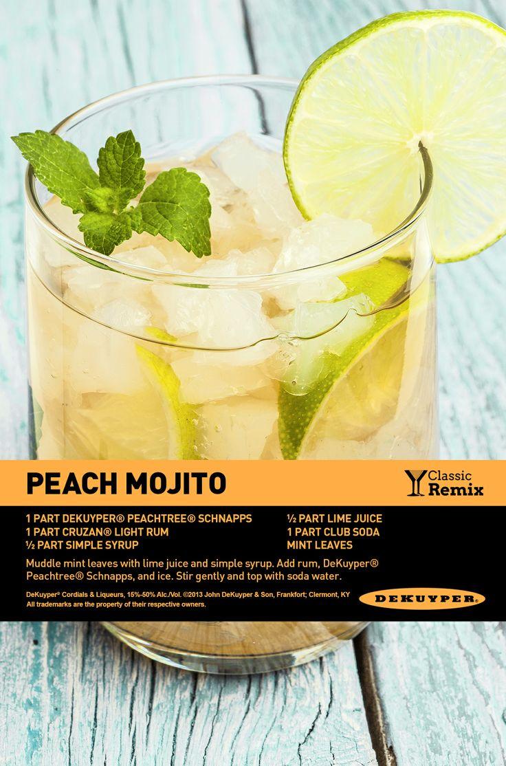 Easy Peach Mojito, just love this summer cocktail recipe! #dekuyper #cocktail #mojito