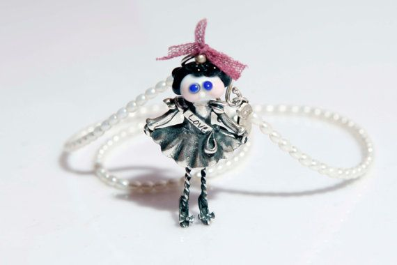 Lampwork Silver Beauty Queen of Love Necklace with Pearl by evihan, $155.00