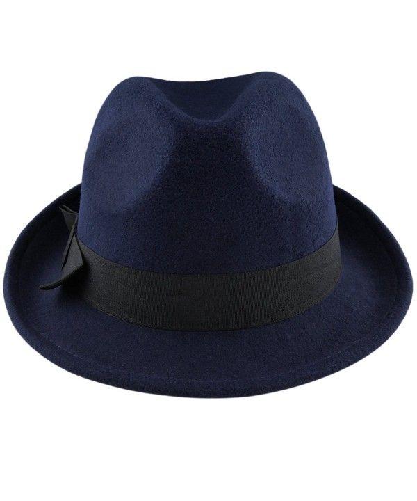 eca383097e1b49 Fedora Hats for Women Men-Winter Roll-up Brim Trilby Woolen Jazz Cap Navy