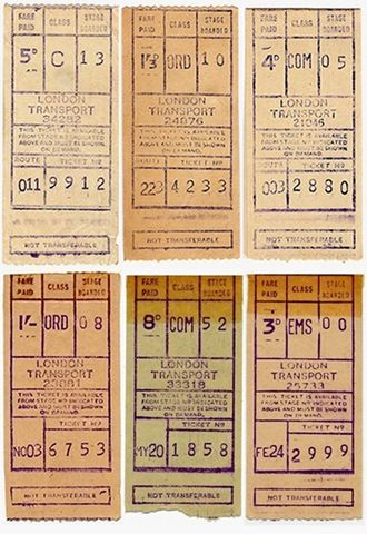London Transport Bus tickets from old Gibson ticket machines  on Routemaster buses.