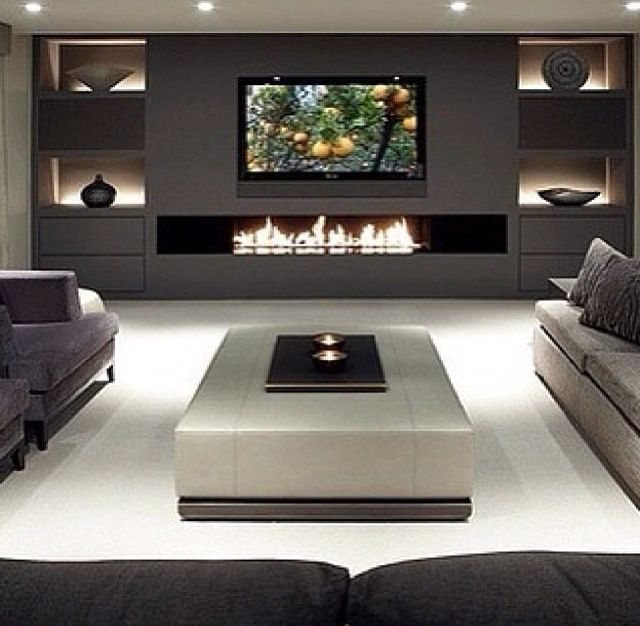 Modern basement basement ideas pinterest fireplaces - Modern fireplace living room design ...