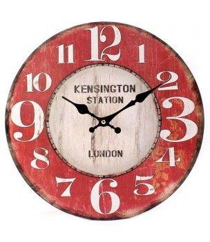 Zegar wiszący w stylu retro LONDON z czerwoną tarczą.