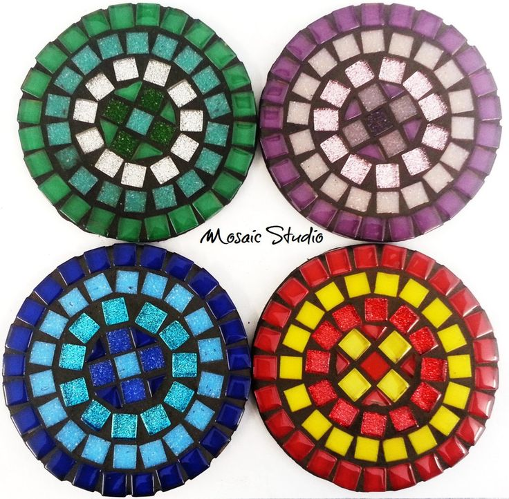 Mosaic Round Coasters - Kit-Set by MosaicStudio1 on Etsy