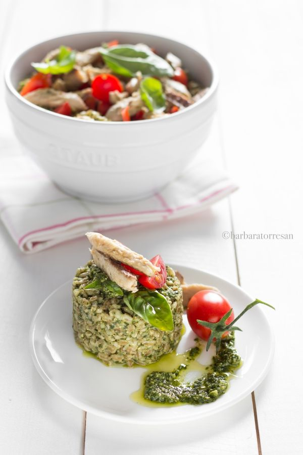 A good summer dish: farro with rucola and basil pesto #food