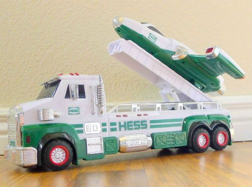 2014 Hess Toy Truck and Space Cruiser with Scout. This is major; it's the Hess 50th anniversary truck! Highly collectable, it sold out in record time and was the only year, 2014, that released two trucks. One celebrates the anniversary itself and one to commemorate the annual year known as the 2014 Hess Toy Truck and Space Cruiser with Scout. So what's so special about the 2014 Hess Toy Truck Collector's Edition?