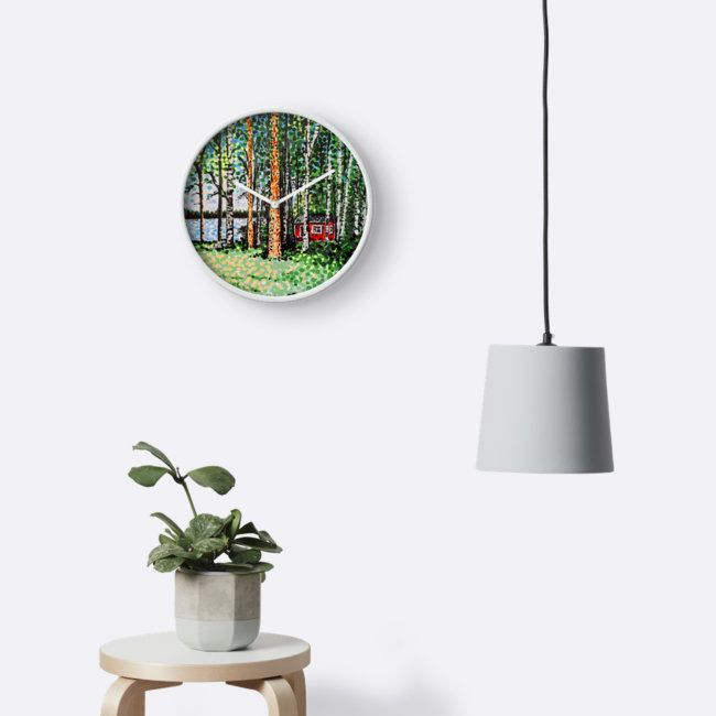 Wall clock image featuring a typical Finnish summer cottage, a most desirable item for any Finn. Especially those who spend most of a long, dark and very cold winter in Finland's cities. A chance to make the great escape from the hectic metropolis into the calm countryside for a couple of weeks. •  #home #homedecor #homestyle #scandinavianhome #wallclock #redbubble #cottage #finland #trees #birches #nordic #scandinavia #green #finnish