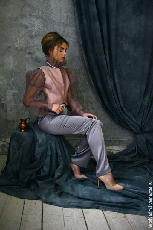 """Блуза, жилет и брюки из авторской коллекции """"Обаяние холода"""" - серый,цветочный"""